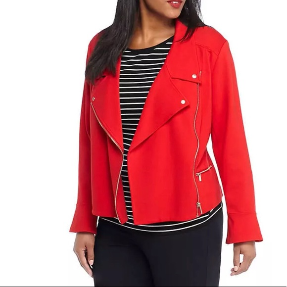 1b7cf67d699 THE LIMITED Plus Size Red Moto Jacket Bell Sleeves